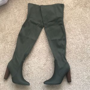 Shoes - Thigh-High Olive Lycra Boots